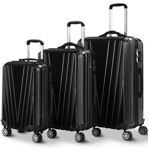 3 pcs Luggage Set Travel Trolley Suitcase with TSA Lock-Black
