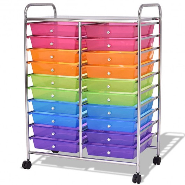 20 Drawers Storage Rolling Cart Studio Organizer-Multicolor