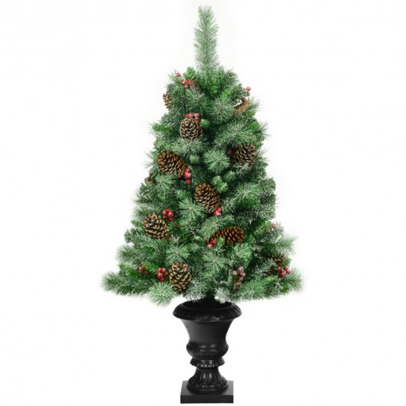 4 ft Christmas Entrance Tree with Pine Cones