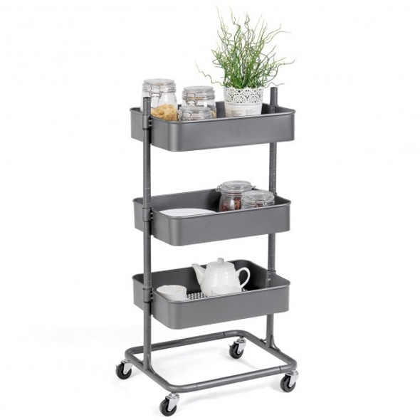 3 Tier Metal Rolling Utility Storage Cart - COHW57744GR