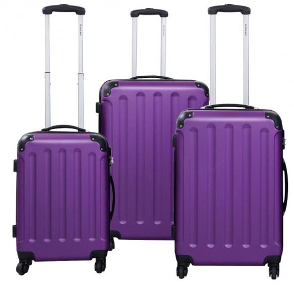3 Pcs GLOBALWAY Luggage Trolley Case Purple