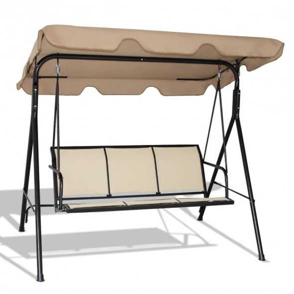 Outdoor Patio Swing Canopy 3 Person Canopy Swing Chair-Brown