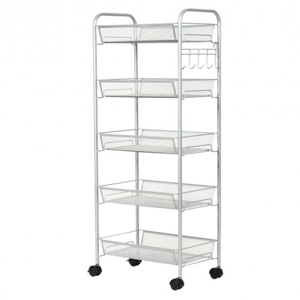 5 Tier Mesh Rolling File Utility Cart Storage Basket-Gray