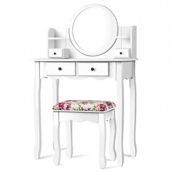 Makeup Vanity Table Set Girls Dressing Table with Drawers Oval Mirror-White