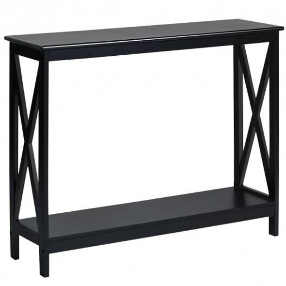 2-Tier Console X-Design Sofa Side Accent Table-Black