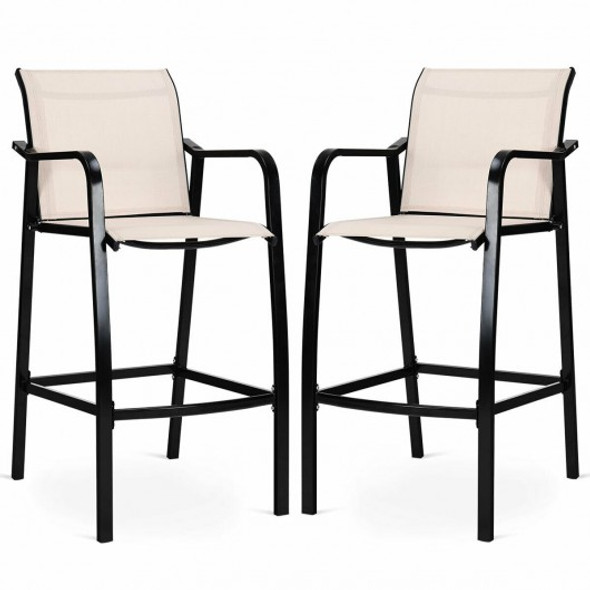 2 pcs Counter Height Stool Chair Steel Frame Dining Bar Chair - COOP70538-2BE