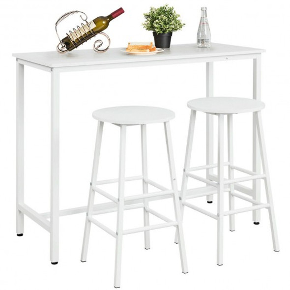 3 Piece Pub Table and Stools Kitchen Dining Set-White