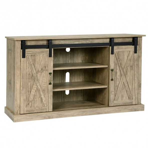 Sliding Barn Door TV Stand with Storage-Natural
