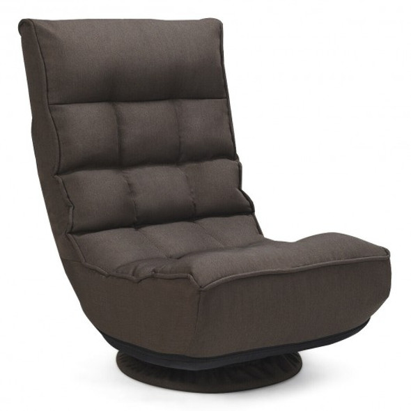 4-Position Adjustable 360 Degree Swivel Folding Floor Sofa Chair-Brown