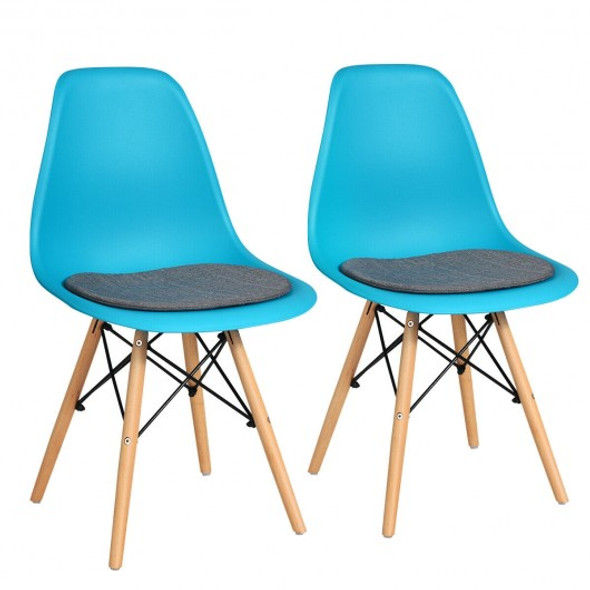 2Pcs Dining Chair Mid Century Modern DSW Chair Furniture-Blue