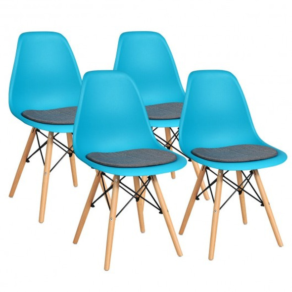 4Pcs Mid Century Dining Chair with Linen Cushion-Blue