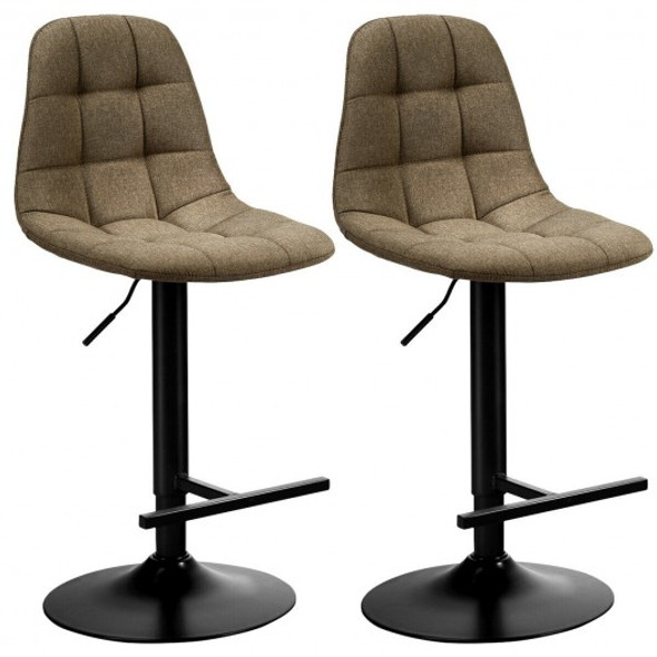 2Pcs Adjustable Bar Stools Swivel Counter Height Linen Chairs -Brown