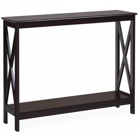 2-Tier Console X-Design Sofa Side Accent Table-Espresso