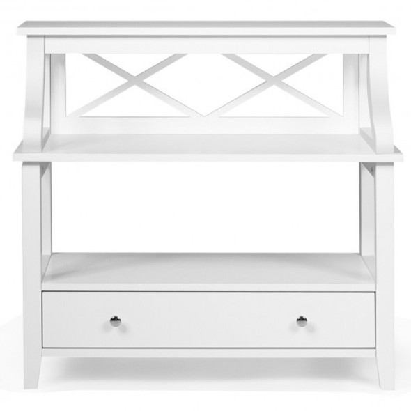3-Tier Storage Rack End table Side Table with Slide Drawer -White