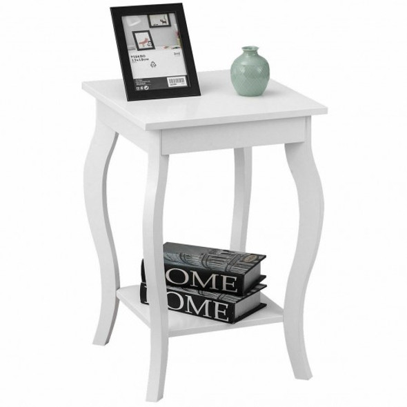 Accent Sofa End Side Table-White