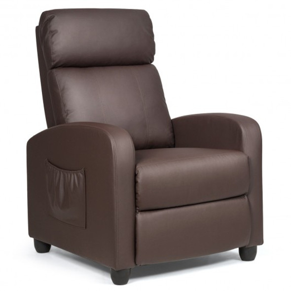PU Leather Massage Recliner Chair with Footrest-Brown