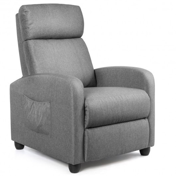PU Leather Massage Recliner Chair with Footrest-Gray