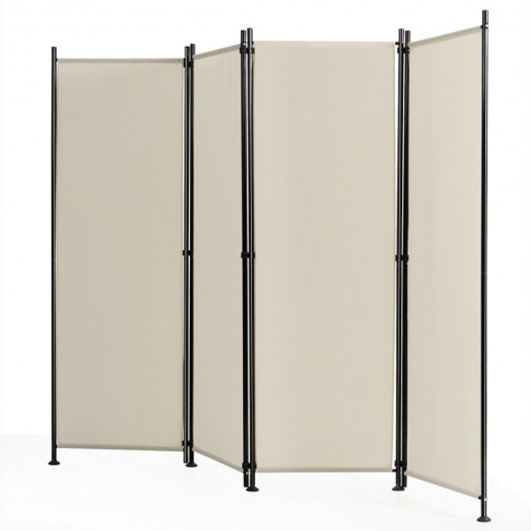 4-Panel Room Divider Folding Privacy Screen-Beige