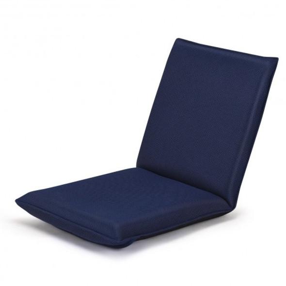 Adjustable 6-position Floor Chair Folding Lazy Man Sofa Chair-Navy