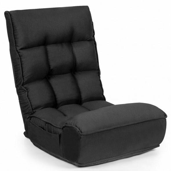 4-Position Adjustable Floor Chair Folding Lazy Sofa-Black