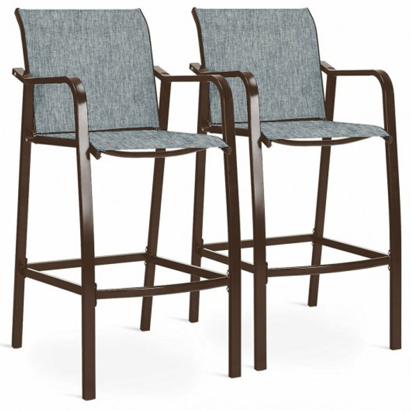2 pcs Counter Height Stool Chair Steel Frame Dining Bar Chair-Gray