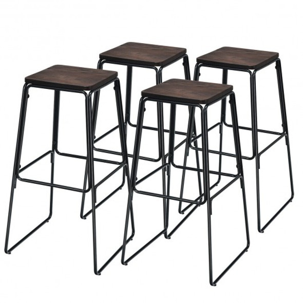"30"" Set of 4 Backless Industrial Bar Stools"