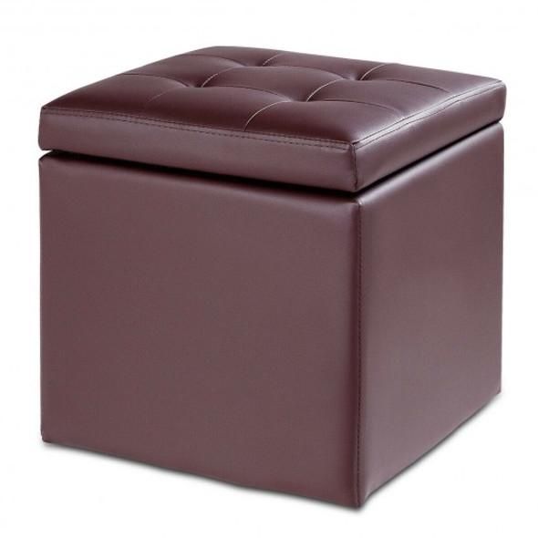 "16"" Storage Box Ottoman Square Seat Foot Stool-Coffee"