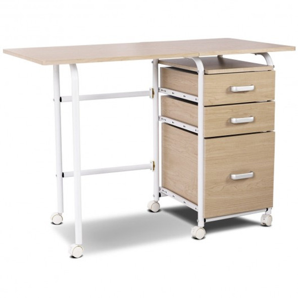 Folding Computer Laptop Desk Wheeled Home Office Furniture-Natural