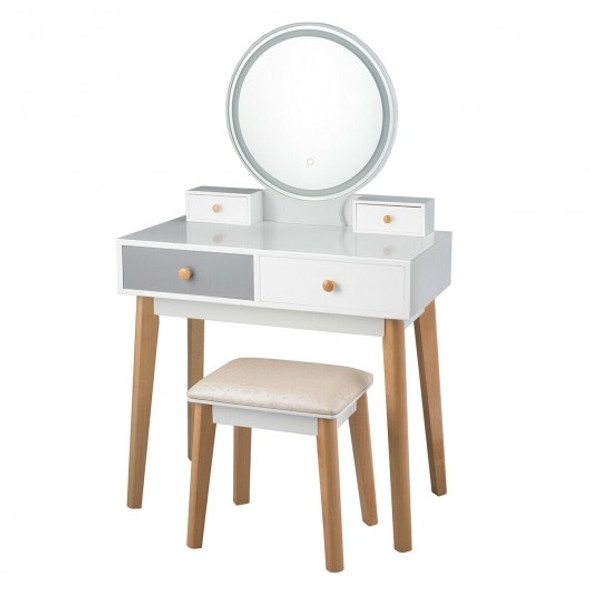 Set 3 Vanity Table Color Lighting Modes Make Up Table & Stool Set - COHW65991US-WH
