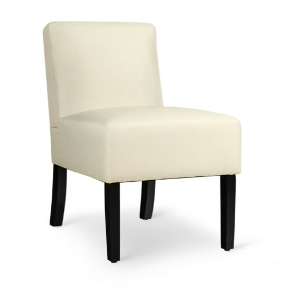 Accent Chair Fabric Upholstered Leisure Chair with Wooden Legs Beige-Beige