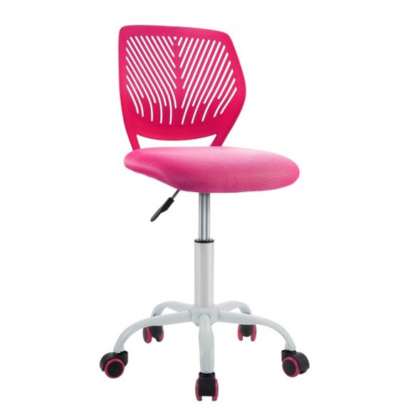 Adjustable Office Task Desk Armless Chair-Pink