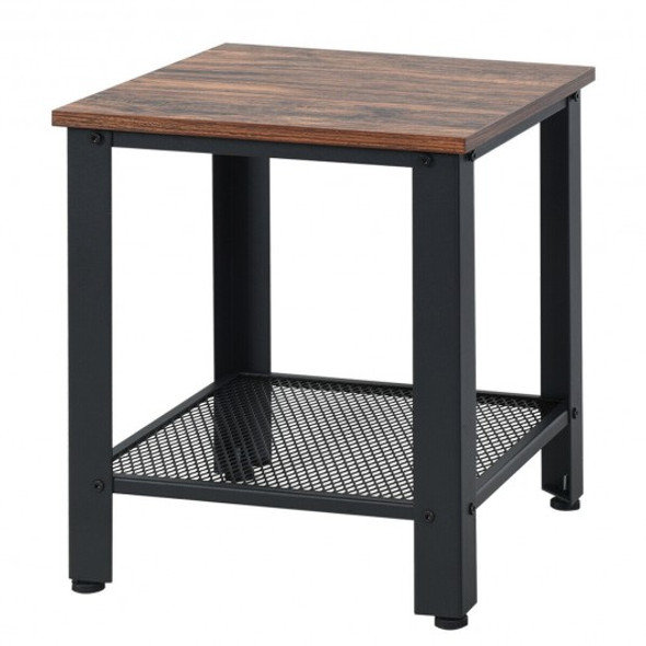 Industrial End Table 2-Tier Side Table-Black