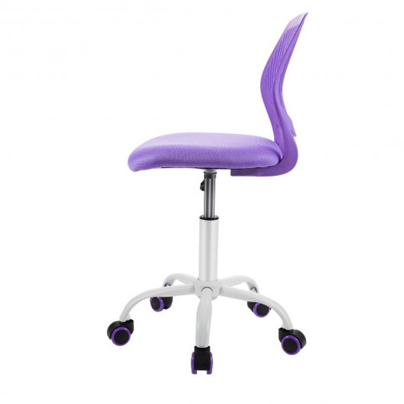 Adjustable Office Task Desk Armless Chair-Purple