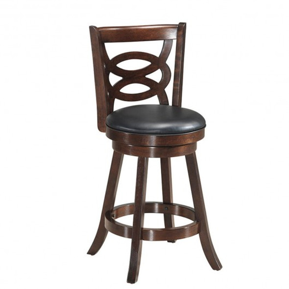 """Counter Height Upholstered Espresso Swivel Dining Chair-29"""""""