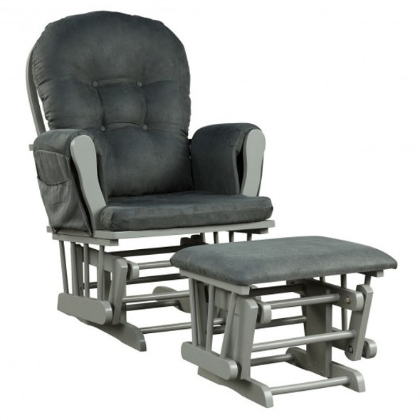 Baby Nursery Relax Rocker Rocking Chair Glider & Ottoman Set-Gray