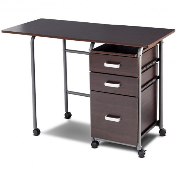 Folding Computer Laptop Desk Wheeled Home Office Furniture-Brown
