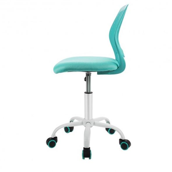 Adjustable Office Task Desk Armless Chair-Turquoise