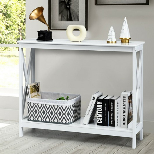 2-Tier Console X-Design Sofa Side Accent Table-White