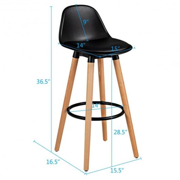 "2Psc Mid Century Barstool 28.5"" Dining Pub Chair-Black"