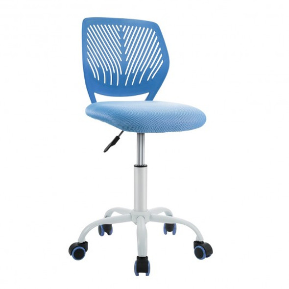 Adjustable Office Task Desk Armless Chair-Blue