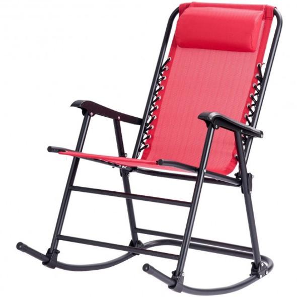 Outdoor Patio Headrest Folding Zero Gravity Rocking Chair-Red