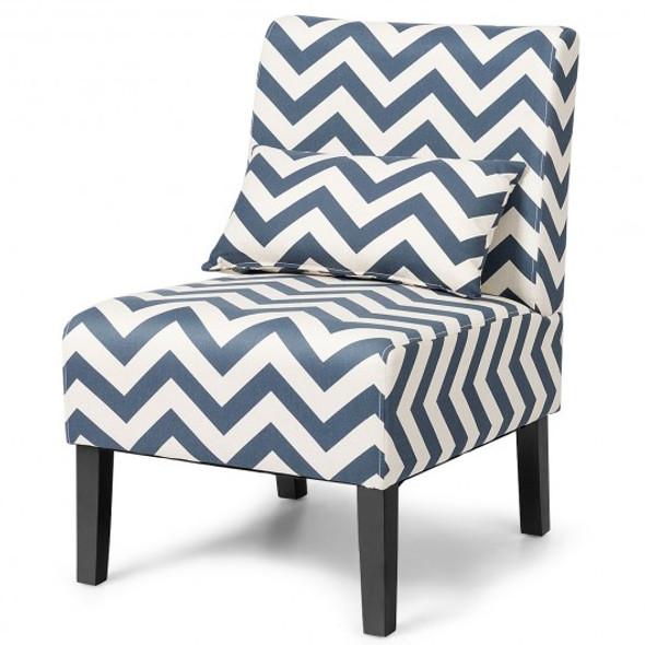Armless Single Sofa with Lumbar Pillow-Blue