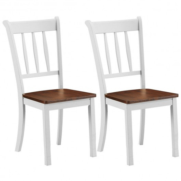 2 Pcs Solid Whitesburg Dining Chairs Spindle Back Wood Seating-White