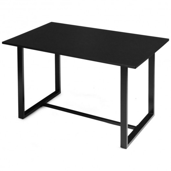 Computer Desk with Bamboo Top & Metal Frame-Black Desk