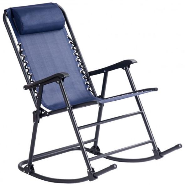 Outdoor Patio Headrest Folding Zero Gravity Rocking Chair-Blue