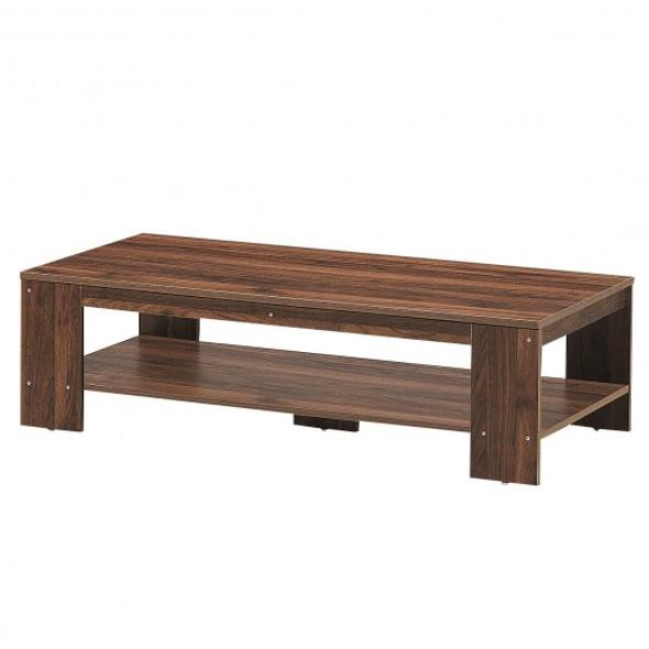 """47"""" 2-Tier Rectangular Coffee Table with Storage Shelf-Walnut"""