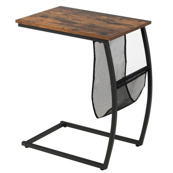 C-shaped End Side Sofa Table Vintage Accent Snack