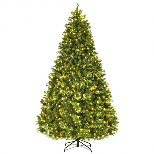 Artificial Christmas Tree with LED Lights & Pine Cones-8'