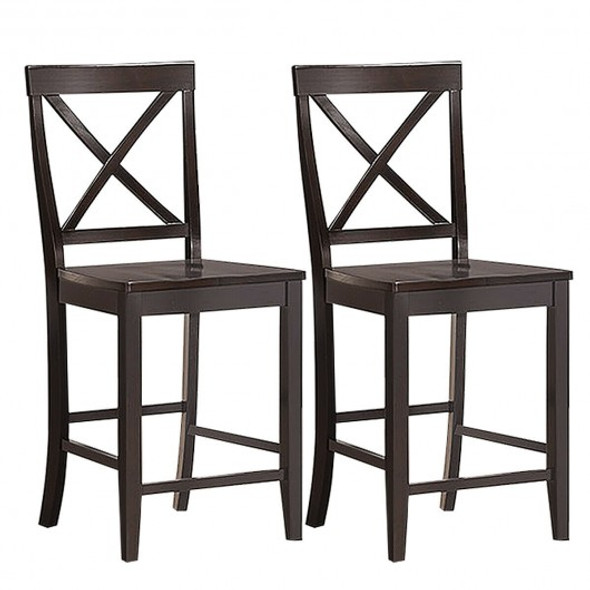 "24"" 2 Pack Rubber Wood Frame Kitchen Chairs"