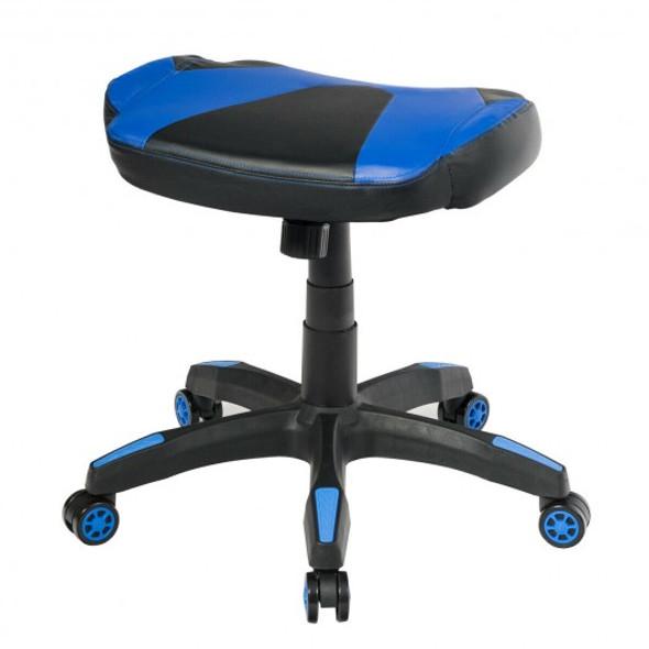 Multi-Use Footrest Swivel Height Adjustable Gaming Ottoman Footstool Chair-Blue